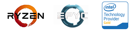 EPYC und Intel Technology Provider Gold Logo